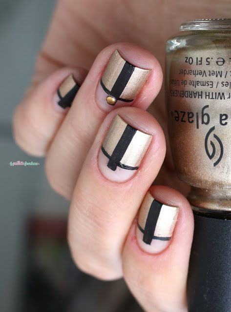Paint All The Nails Gilded Nail Art Black And Gold Geometric Negative E