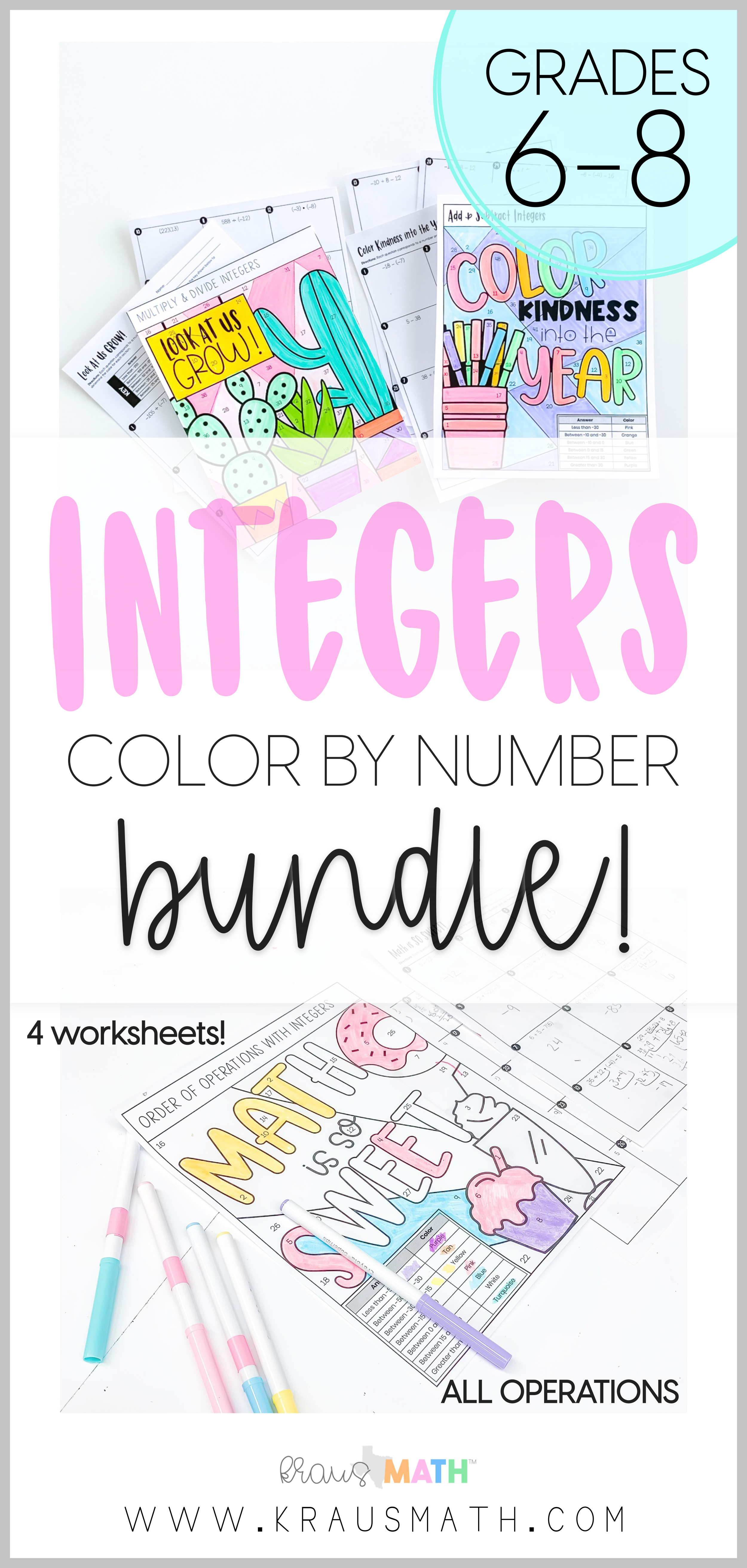 Color By Number Integers Operations Bundle 6 3d