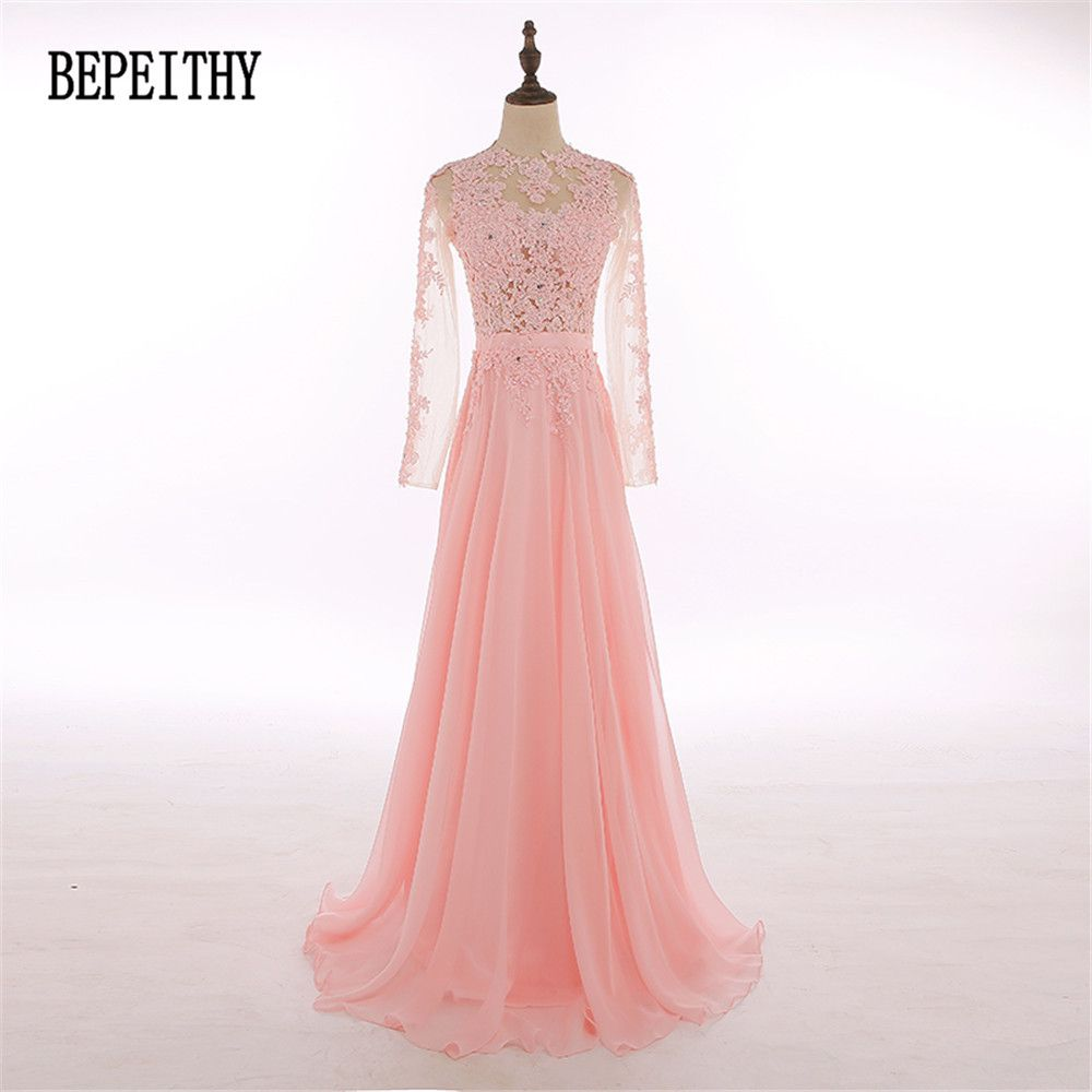 BEPEITHY New Design Hot Sales Chiffon Long Sleeve Prom Dresses ...
