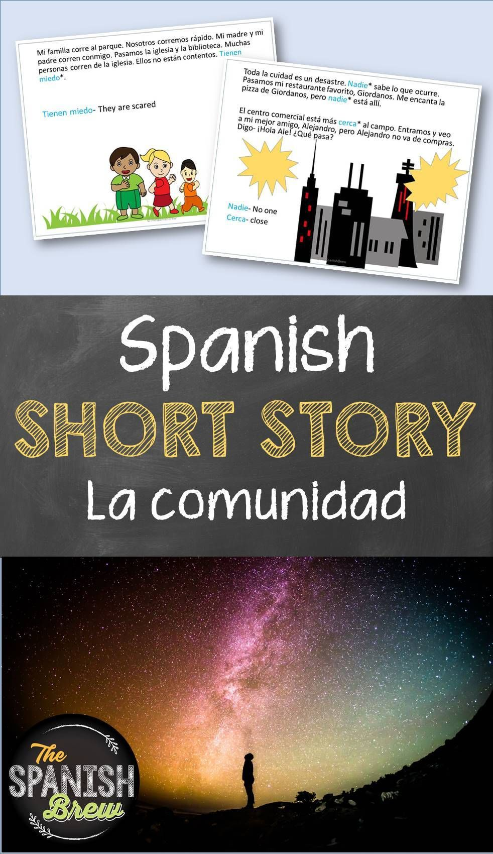 Tprs Spanish Short Story About The Community Using High Frequency Verbs Spanish Students Pre Reading Activities High School Spanish