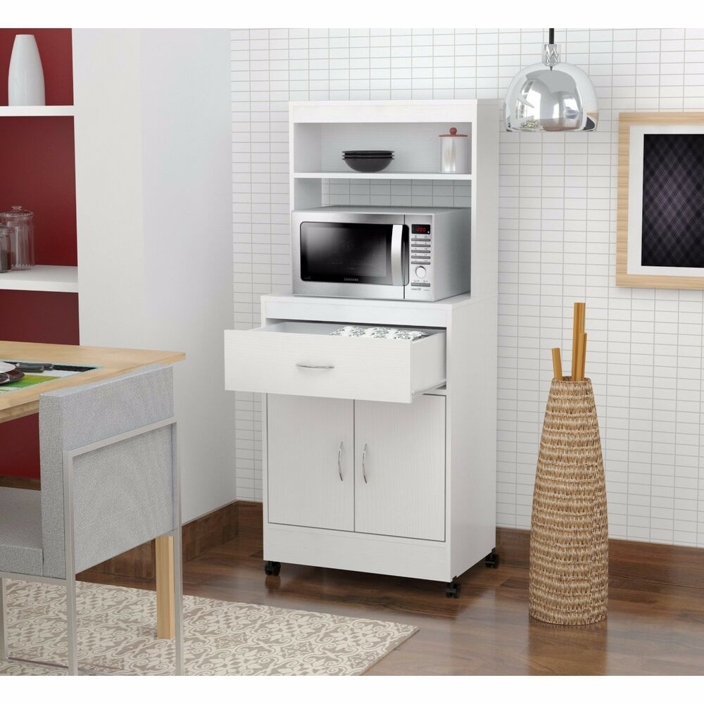 Tall Kitchen Storage White Microwave Cart Stand