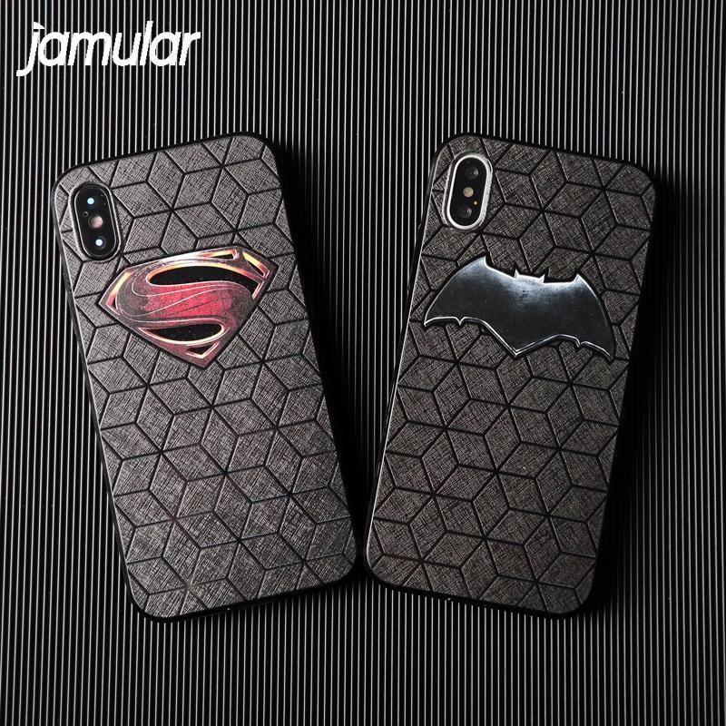 Soft TPU Back Cover Batman Superman Phone Case For Apple iPhone X ...