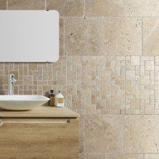 Mosaïque sol et mur Mineral travertin ivoire | Salle de bain | Pinterest