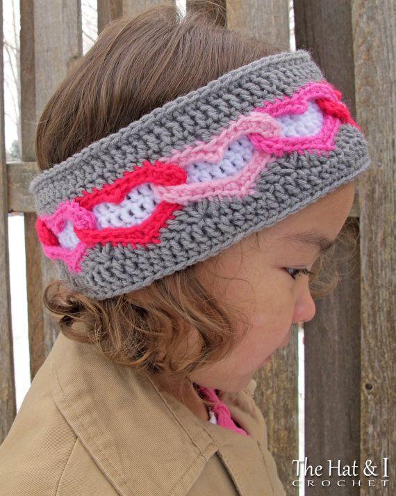 CROCHET PATTERN - Heart Warmer - crochet head wrap pattern, heart ...