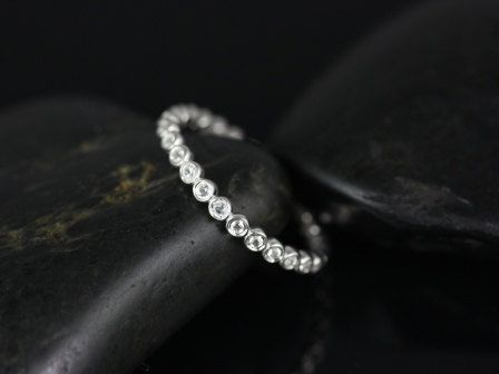 Silver Pee Bubbles White Topaz Eternity Band Available In Diamonds And Other Metals