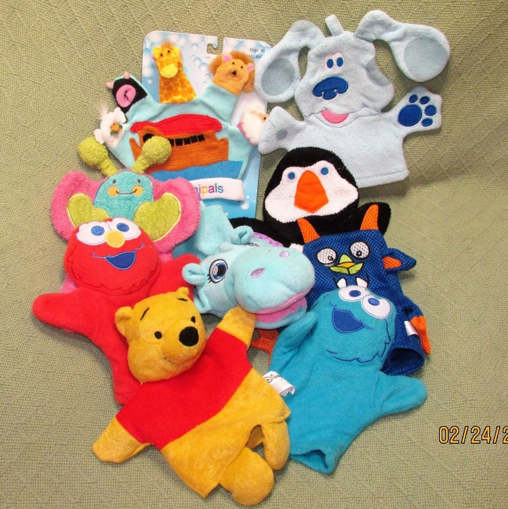Bath Mitt Puppet Character LOT Cleanipals Splish Splashers Elmo Cookie Monster + #Assorted