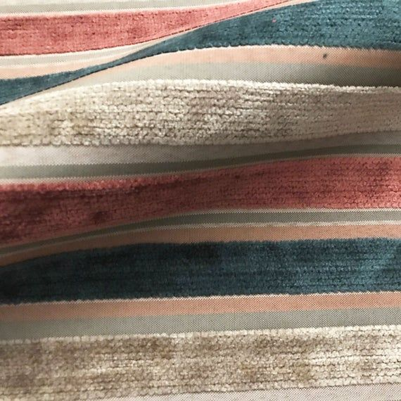 Multicolored Mod Stripe Velvet Upholstery Fabric 54