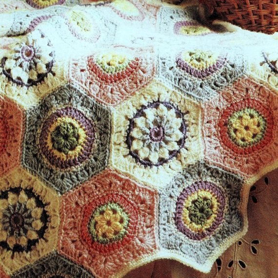 Vintage Crochet Pattern Pastel Granny Hexagon Octagon Afghan Throw ...