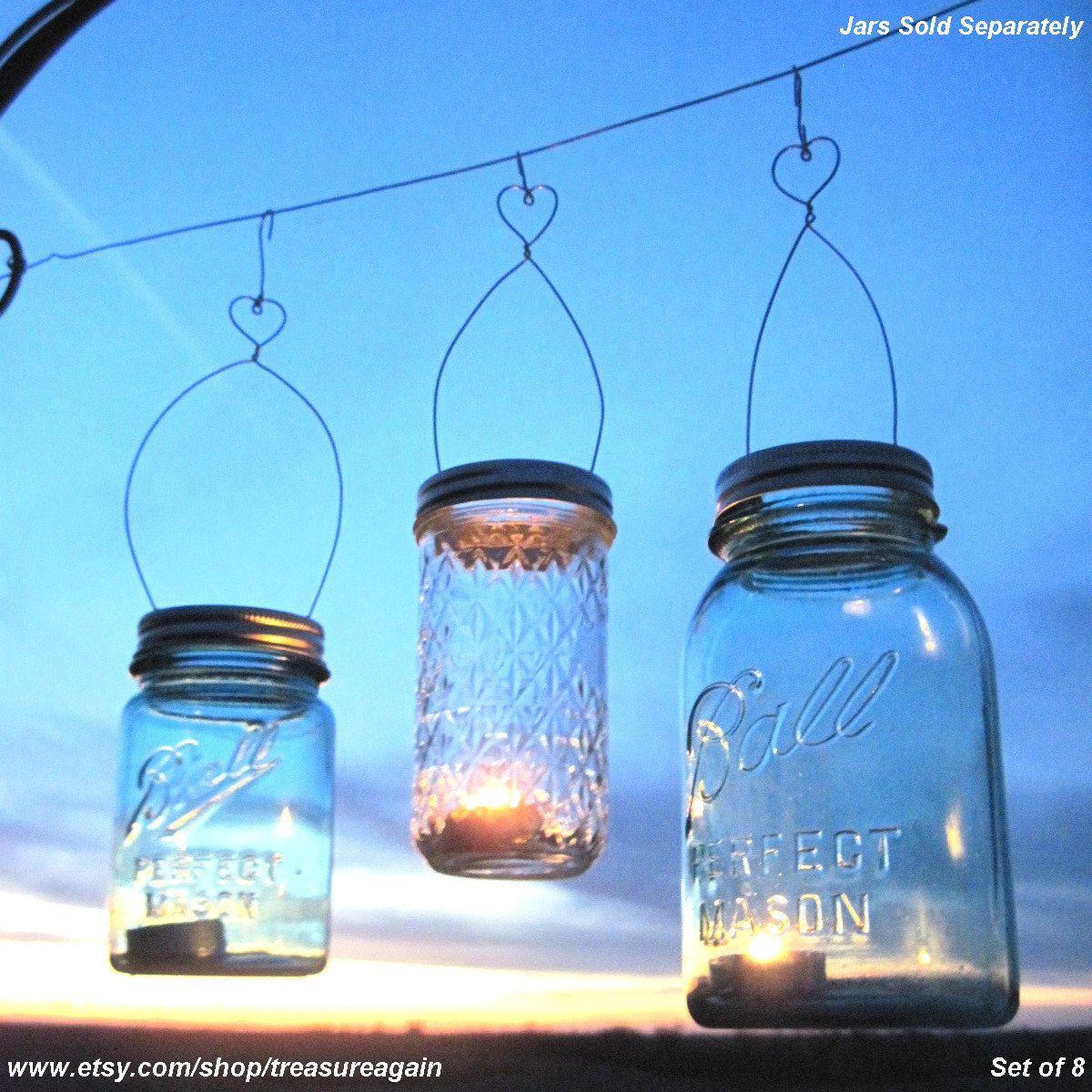 8 DIY Love-You-Lantern Jar Hangers, Heart Mason Jar Wedding Hanging ...