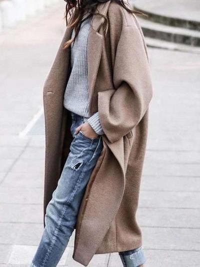 Cappotti bavero moda manica lunga puro