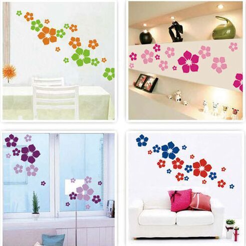 Goedkope Gratis Verzending Multicolor Bloemen DIY Vinyl ...