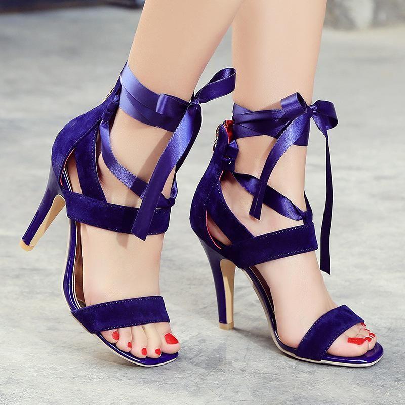 Open Toe Ankle Straps Lace Stiletto High Heels Sandals  d67e26925d1a