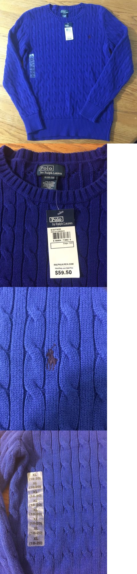 Sweaters 51946: Nwt Ralph Lauren Kids Boys Xl 18-20 Cable Knit ...