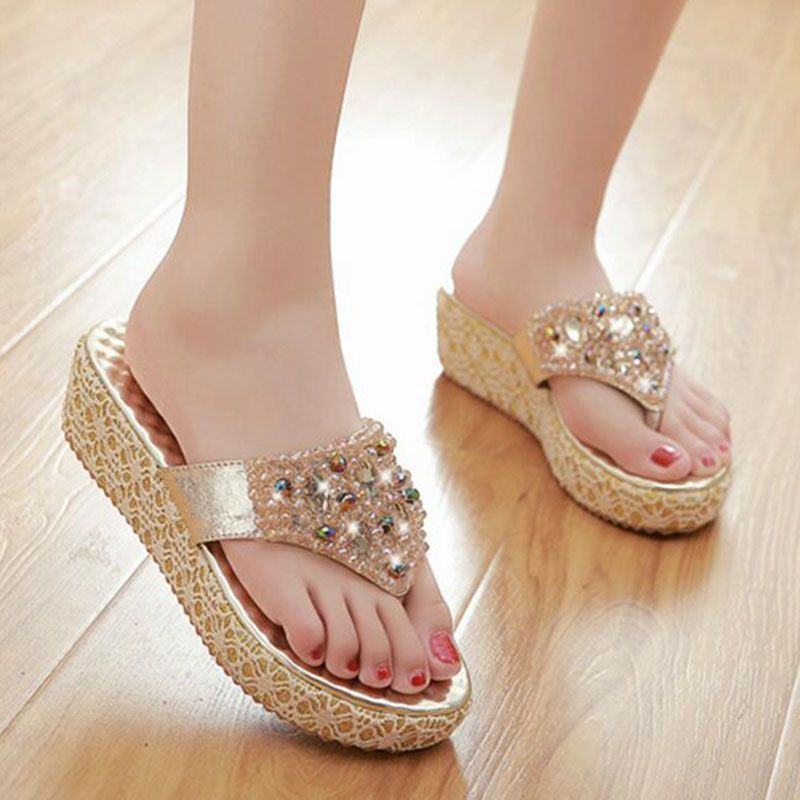 Ladies Summer Beach Flower Platform Slippers Casual Wedge Sandals Embellished Women Shoes Flip Flops Hot
