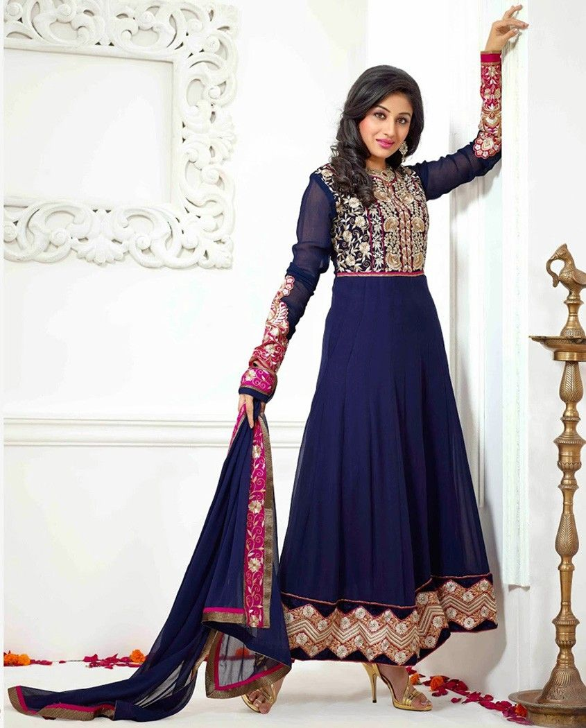 Blue anarkali suit with embellished yoke blue georgette anarkali