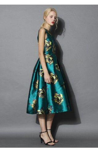 Peonies Print Prom Dress in Emerald - Dress - Retro, Indie and Unique Fashion