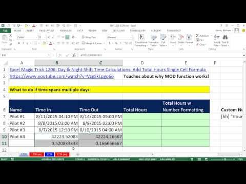 Excel Magic Trick 1228 Hours Worked Formula For Date  Time Values - spreadsheet formulas