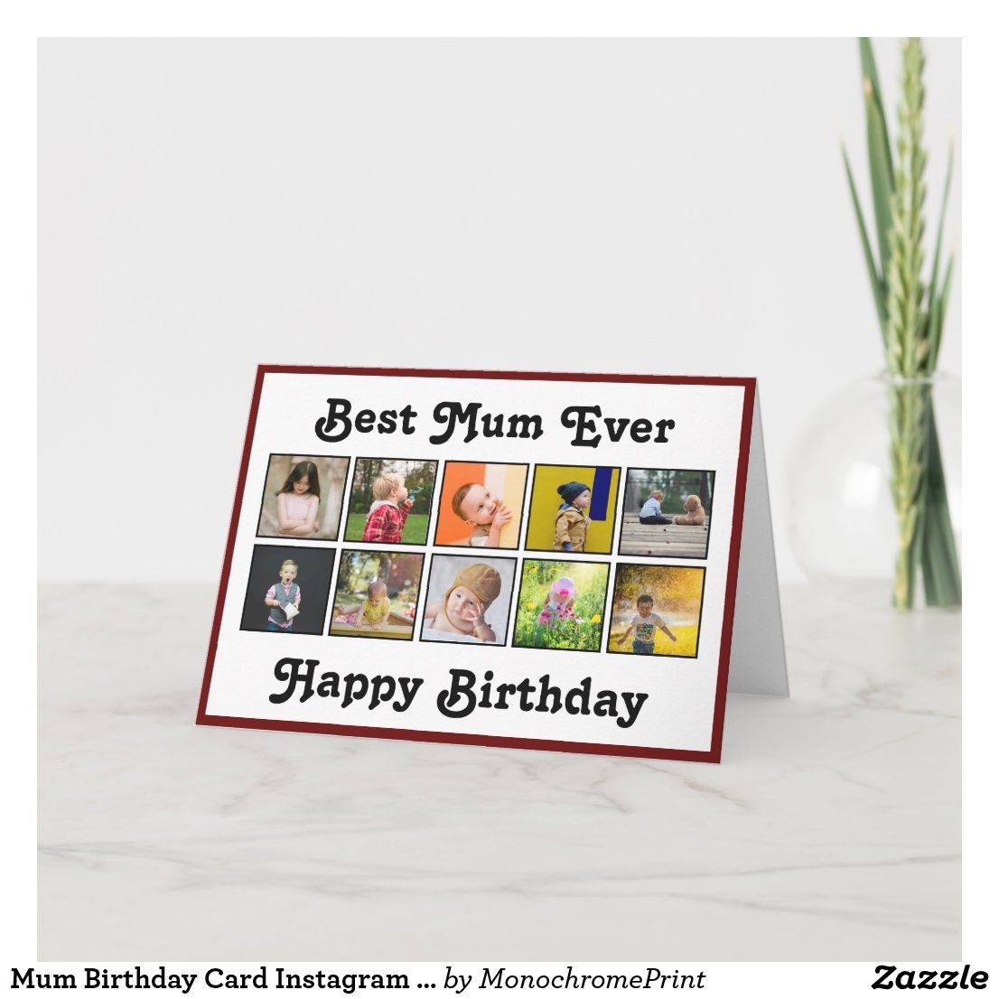 Mum Birthday Card Instagram Photo Collage Template Zazzle Com Birthday Photo Collage Birthday Cards For Mum Photo Collage Template