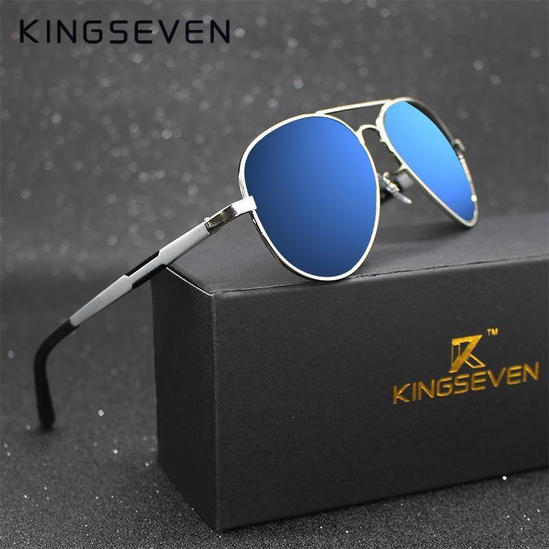 ae086b237a Kingseven Aluminum Magnesium Gold Fashion Polarized Lens Sunglasses Men  Women Driving Mirror Sun Glasses Points Male Oculos 7170