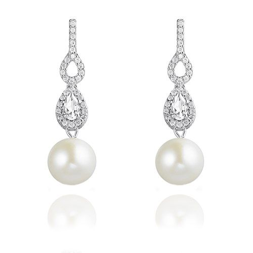 2e9f3123581f4 Brinco Ouro Branco Diamante Topázio e Pérola Garoa Pearl Earing, Pearl  Jewelry, Wedding Jewelry