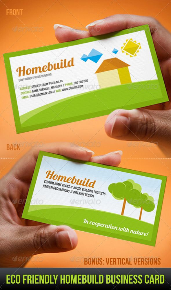 Eco friendly homebuild business card business cards card eco friendly homebuild business card graphicriver eco friendly home building business card template you will find it suitable for eco home and building colourmoves