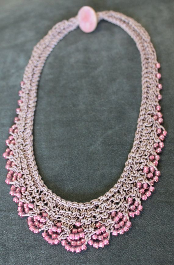 Gatsby Necklace Pattern Bead Knit Necklace With Button Closure
