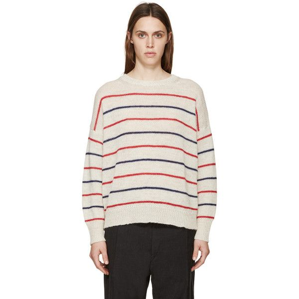 Isabel Marant Etoile Beige Striped Gatland Sweater (2.475 NOK) ❤ liked on Polyvore featuring tops, sweaters, striped sweater, white ribbed sweater, white striped sweater, stripe sweater and long sleeve crew neck sweater