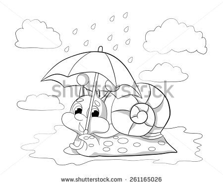 Cartoon Funny Snail With An Umbrella In The Rain Coloring Book
