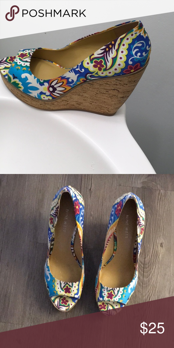 7b8fcb14b Wedges anyone!?! Super cute Nine West colorful wedges. Let's walk into  spring with these ladies. Nine West Shoes Wedges