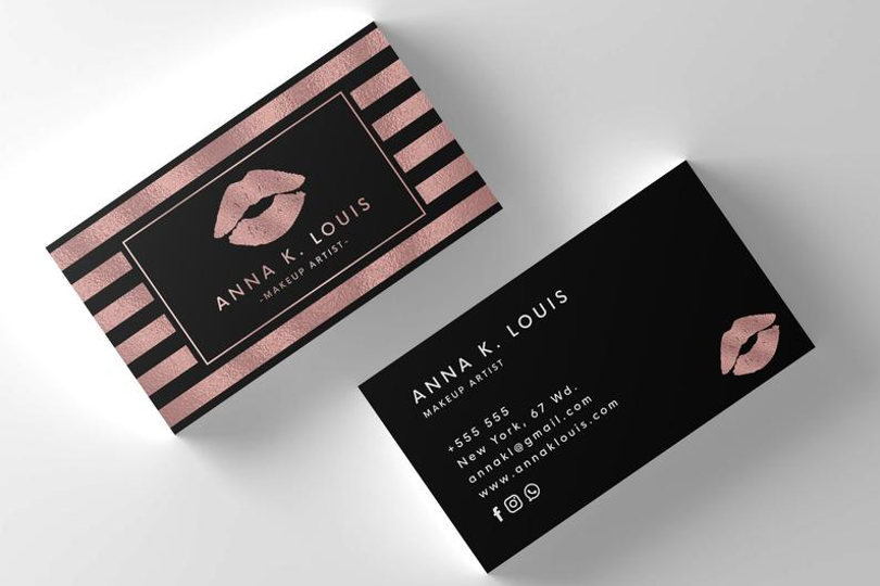 The Unique Elements Of Makeup Business Cards Foil Stamped Business Cards Business Card Texture Printable Business Cards