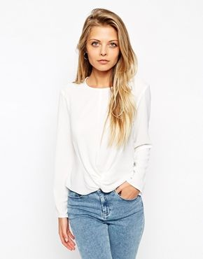 ASOS Long Sleeve Top With Knot Front Detail