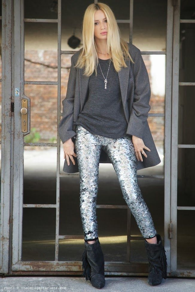 927b4818185342 Isabel Marant pour H&M Silver Leggings, Sequin Leggings, Glitter Leggings,  Silver Jeans,