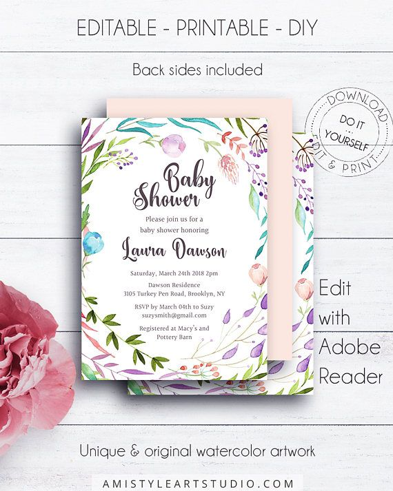 DIY Shower Template, Baby shower invitation, with rustic watercolor - fresh birthday invitation baby girl