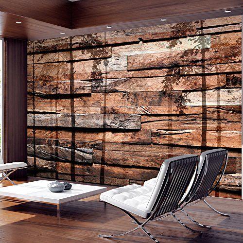 Fotomural de simulacin de pared de madera con sombras de