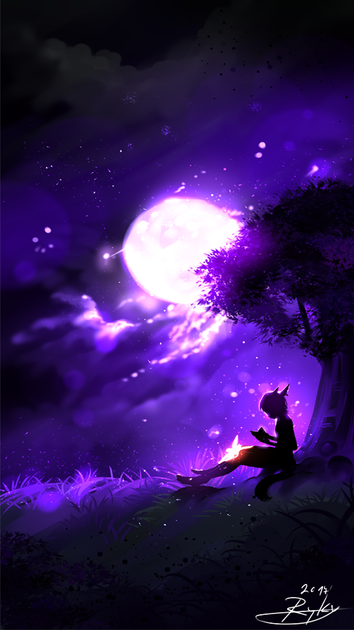 The Full Moon By Https Www Deviantart Com Ryky On Deviantart Anime Scenery Anime Galaxy Pictures