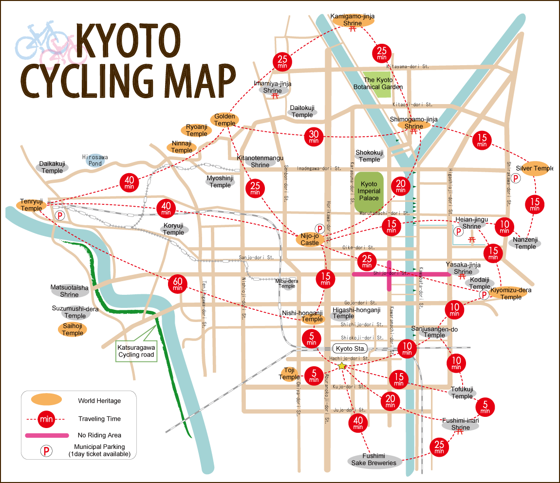 KYOTO CYCLING MAP JAPAN 3 Pinterest Kyoto Japan and Japan trip