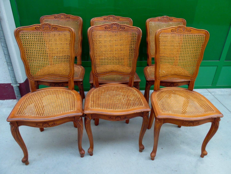 6 sedie in faggio massello e paglia di vienna scolpite con