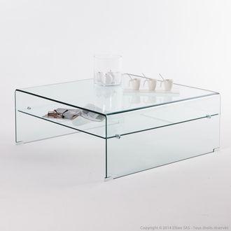 Table basse carrée en verre trempé Longueur 100 cm CRISTAL