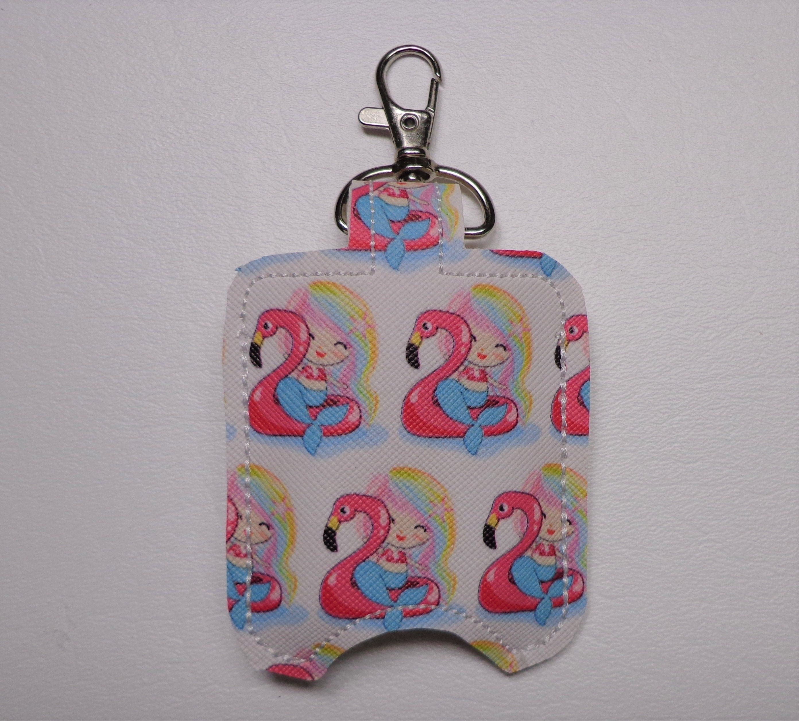 Mermaid Riding Pink Flamingo Hand Sanitizer Holder Client