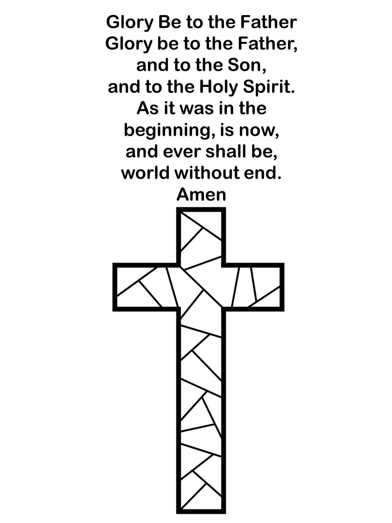 Glory Be To The Father Printable Simple Coloring Activity