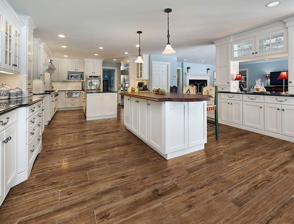 Wood and Tile Floor Kitchen Traditional with Floor Covering Floor ...