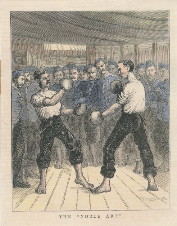 the noble art 19th century boxing print reproduction engraving ポスター アート