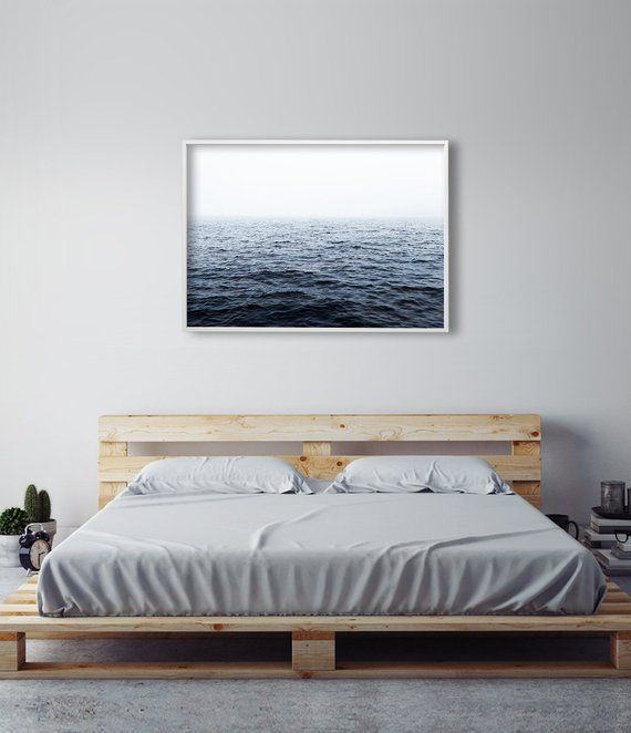 Ocean art print by little ink empire master bedroom decor - Master bedroom art above bed ...