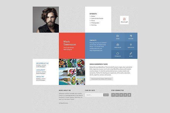 Resume CV Portfolio theme - Quadrate Wordpress, Resume cv and - wordpress resume themes
