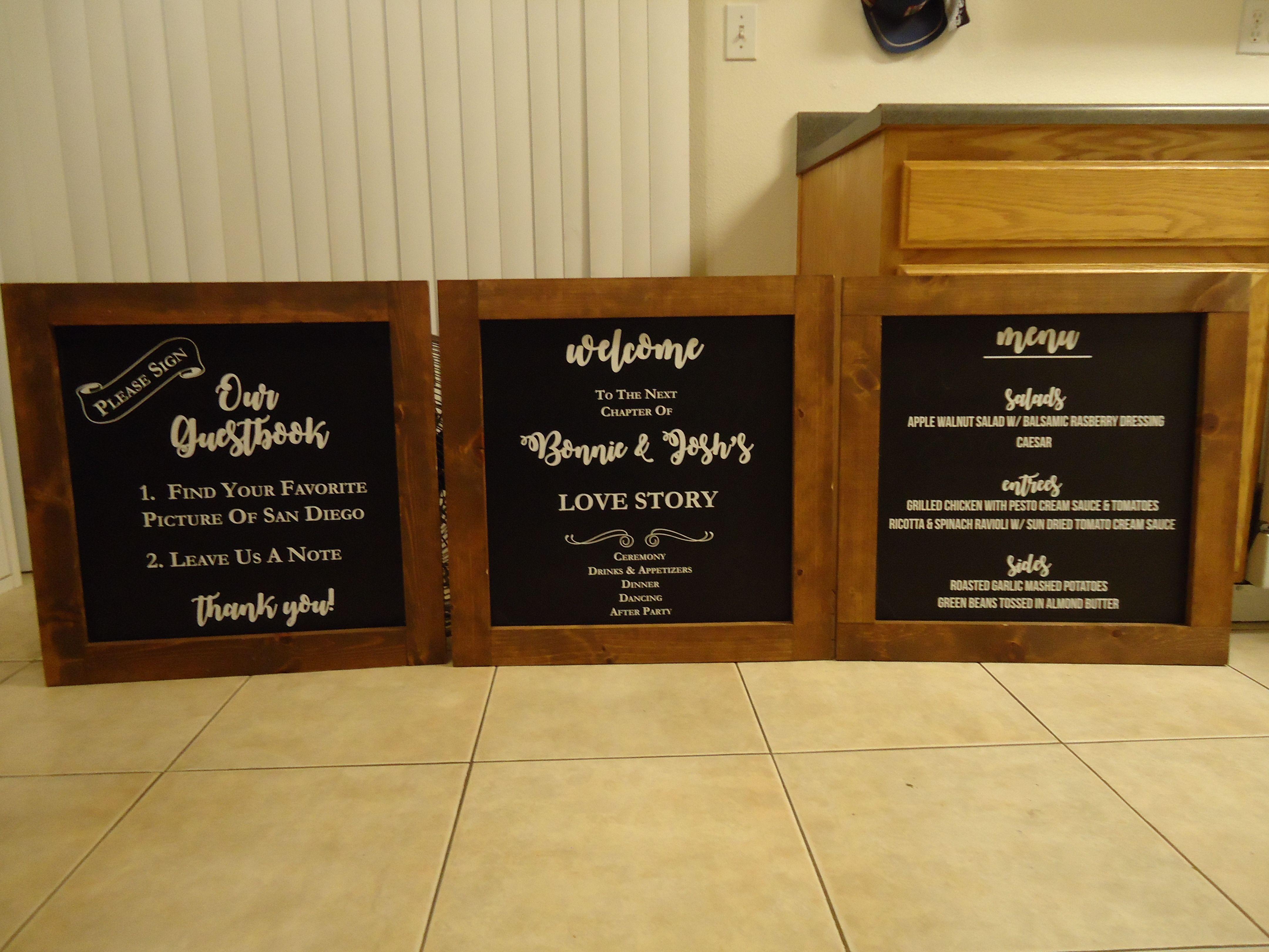 Wedding chalkboards - size 18 in by 18 in - artwork by www.victorygraphix.net