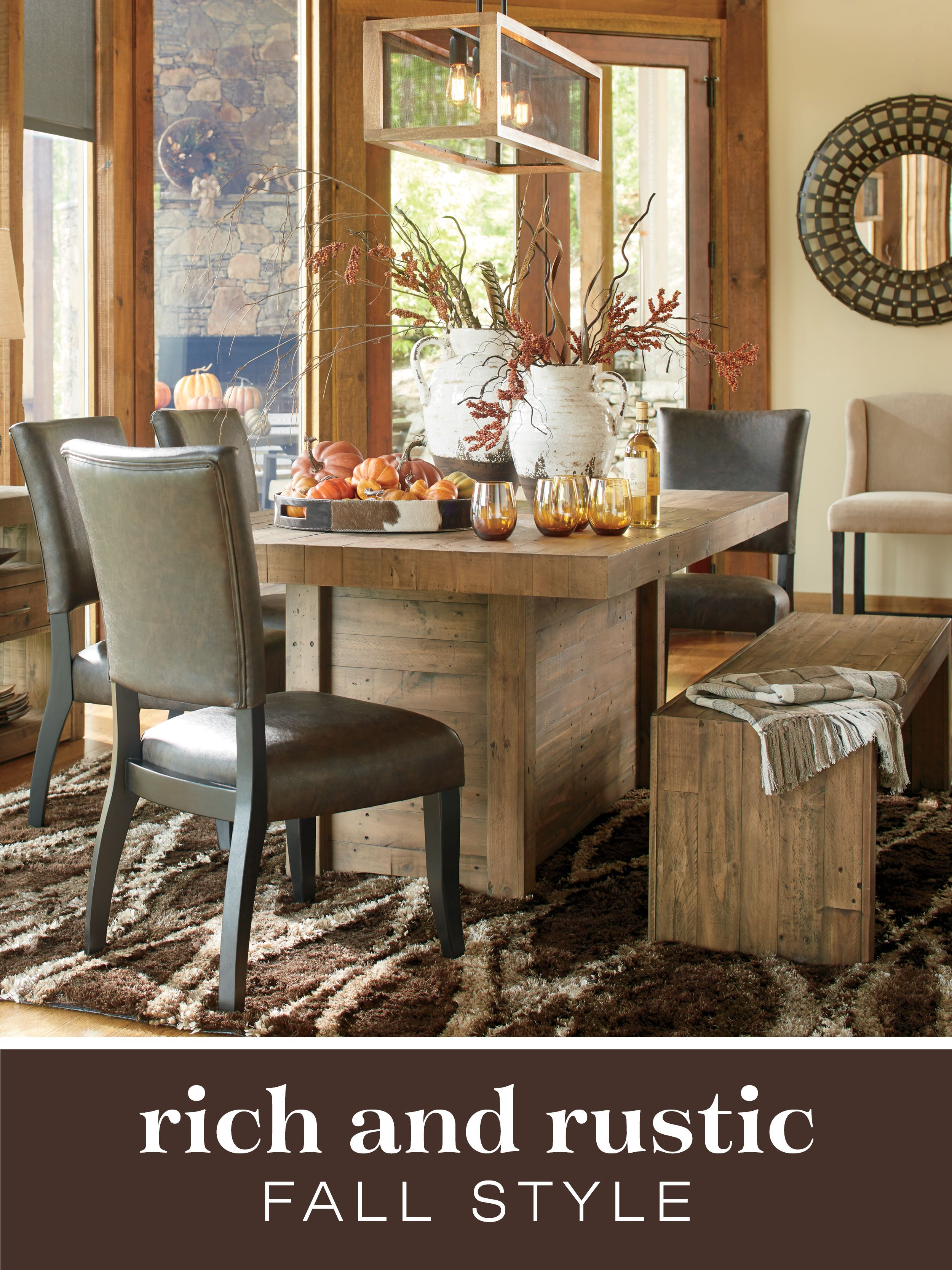 Sommerford Dining Room Furniture By Ashley Furniture. | #AshleyFurniture # Dining #Diningroom #Table #Chairs #Fall #Falldecor #Timberandtanning