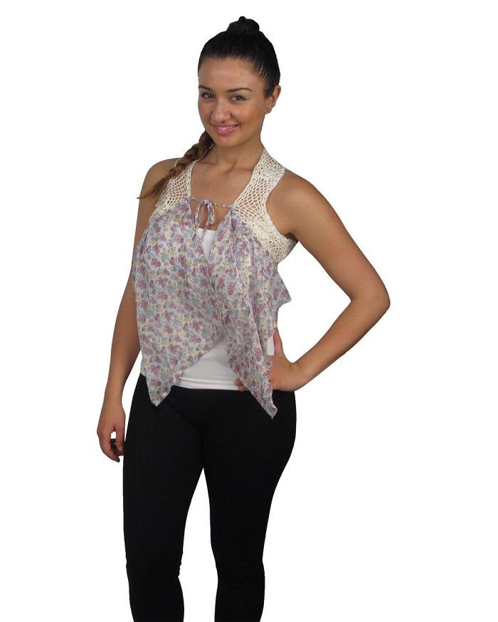 Cropped floral print cardigan w/lace detail Is Just $0.99 ...