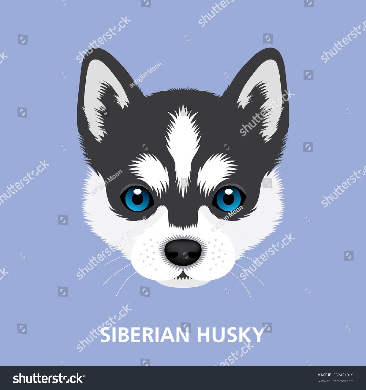 Vector Illustration Portrait Of Siberian Husky Puppy Art Of Dog