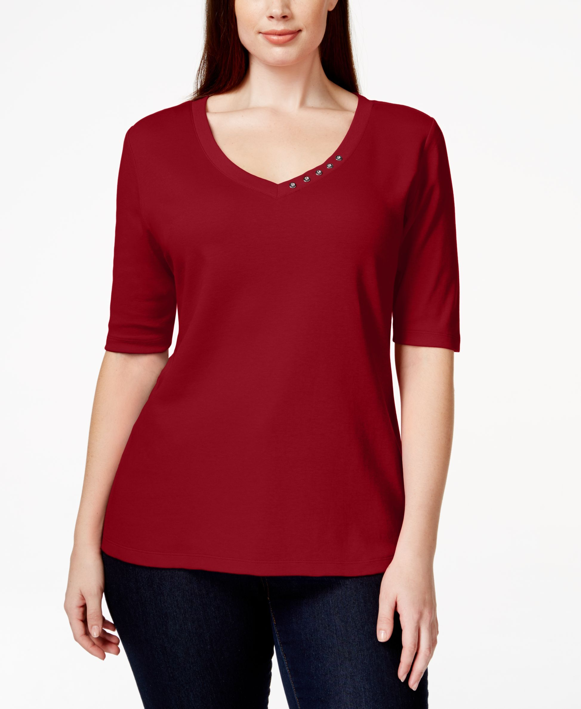 b3c0590668d Karen Scott Plus Size Elbow-Sleeve V-Neck Top