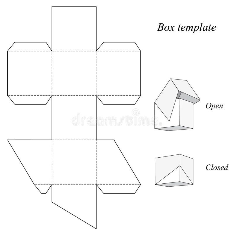 Download Square Box Template With Lid Stock Vector Image 48154678 Box Template Box Template Printable Box Templates Printable Free